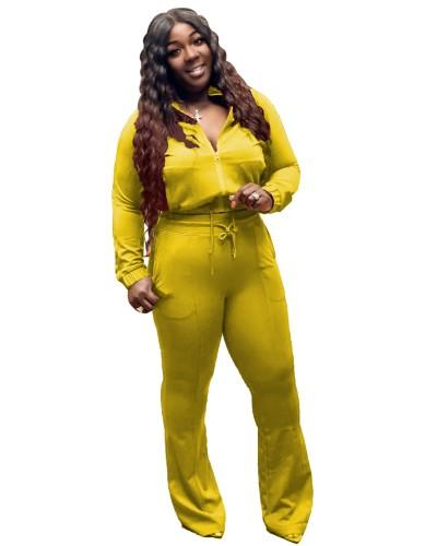 Plus Size Yellow Zipper Jacket and Flare Pants 2PCS Set