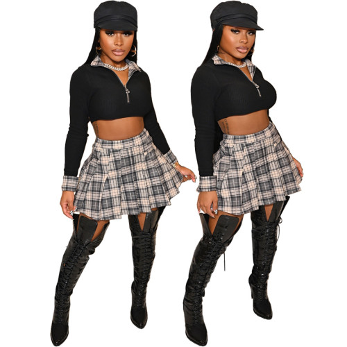 Long Sleeve Crop Top and Plaid Pleated Skirt 2PCS Set