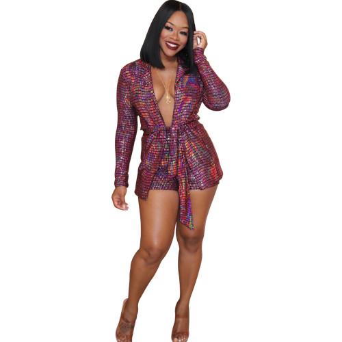 Metallic Burgundy Long Sleeve Blazer and Shorts 2PCS Set