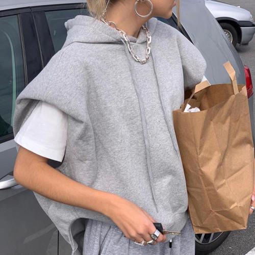 Gray Loose Cap Sleeve Casual Hoodie