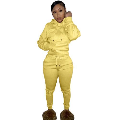Winter Warm Yellow Causal Sweatsuits