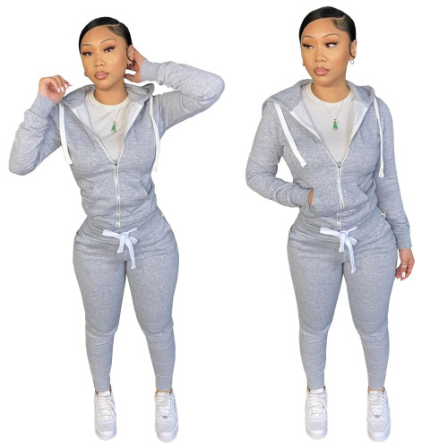 Gray Cotton Blends Fitted Short Sweatshirt and Sweatpants Zipper Tracksuit
