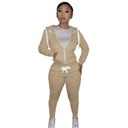 Khaki Cotton Blends Fitted Short Sweatshirt and Sweatpants Zipper Tracksuit