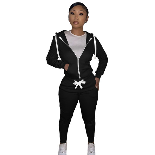 Black Cotton Blends Fitted Short Sweatshirt and Sweatpants Zipper Tracksuit