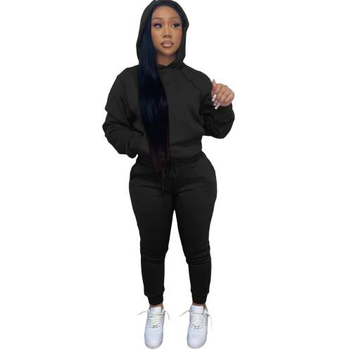 Winter Warm Black Causal Sweatsuits