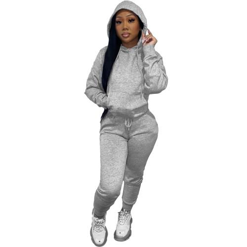 Winter Warm Gray Causal Sweatsuits