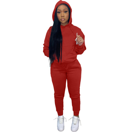 Winter Warm Red Causal Sweatsuits