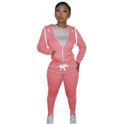 Pink Cotton Blends Fitted Short Sweatshirt and Sweatpants Zipper Tracksuit