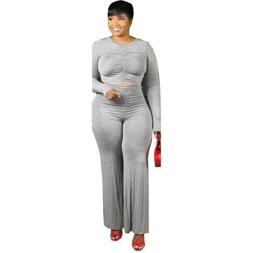 Plus Size Gray Ruched Crop Top and Pants Two Piece Set