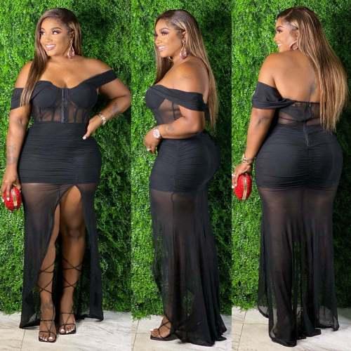 Sexy Off Shoulder Black Maxi Dress