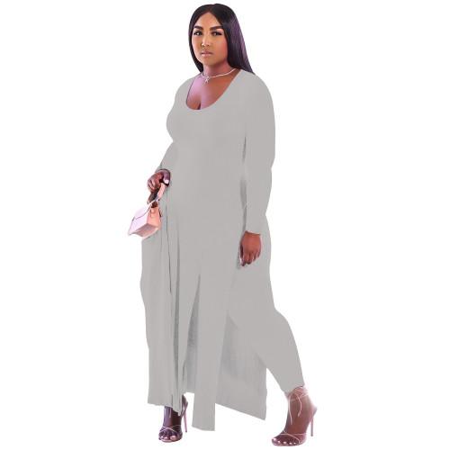 Plus Size Gray Full Sleeve Slit Long Dress Top and Pants Set