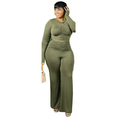 Plus Size Green Ruched Crop Top and Pants Two Piece Set