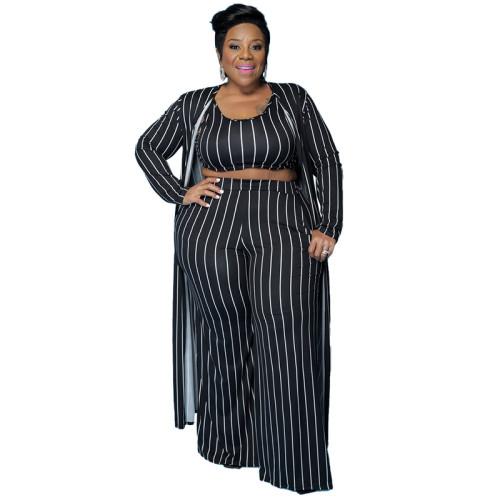 Plus Size Stripes Black Crop Tank+ Pants+ Cardigan 3PCS Set