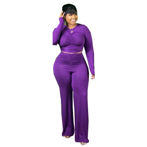 Plus Size Purple Ruched Crop Top and Pants Two Piece Set