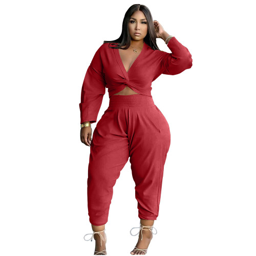 Red Twist Long Sleeve Crop Top and Pants Casual Two Pieces