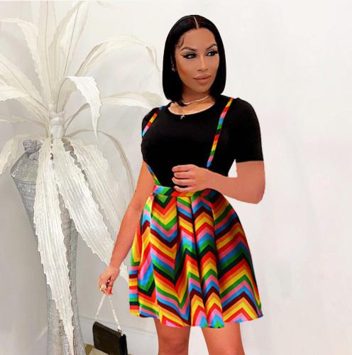 Colorful Suspender Dress with Black Tee 2PCS Set