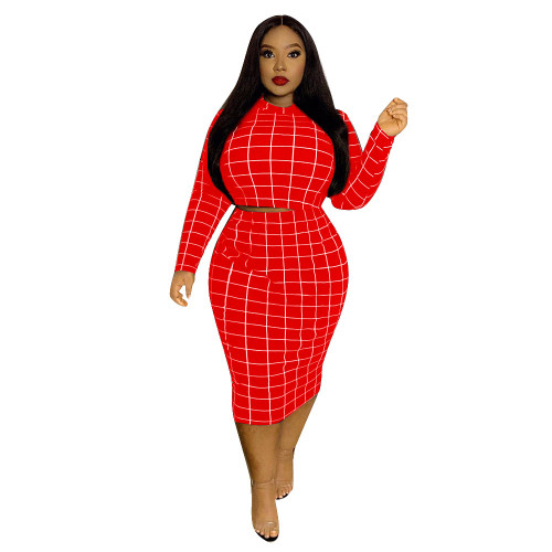 Red Check Print Plus Size Two Piece Skirt Set