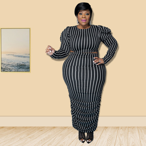 Plus Size Stripes Black Puff Sleeve Crop Top and Ruched Long Skirt Set