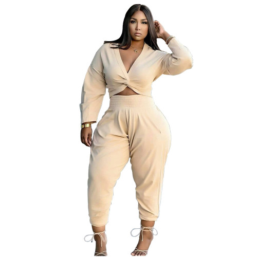 Beige Twist Long Sleeve Crop Top and Pants Casual Two Pieces