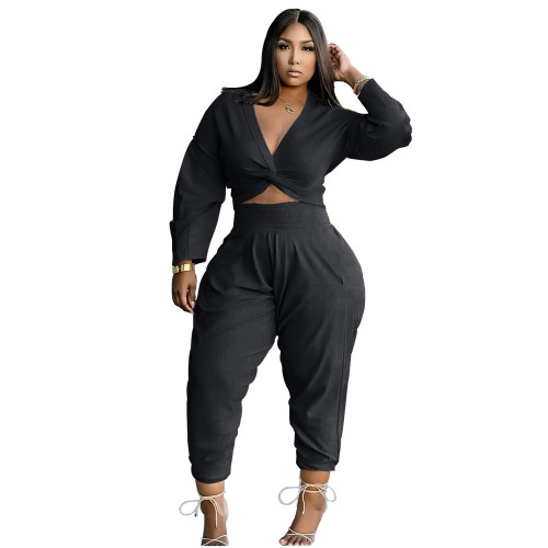 Black Twist Long Sleeve Crop Top and Pants Casual Two Pieces