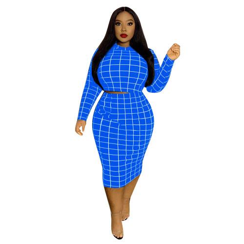 Check Blue Print Plus Size Two Piece Skirt Set