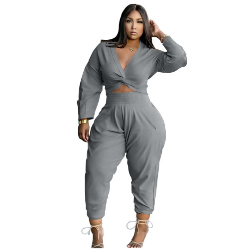 Gray Twist Long Sleeve Crop Top and Pants Casual Two Pieces