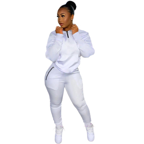 White Casual 1/4 Zipper Tracksuit