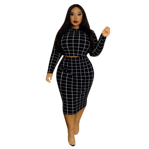 Black Check Print Plus Size Two Piece Skirt Set
