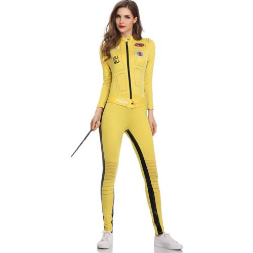 Sexy Halloween Yellow Tight Zipper Print Jumpsuit