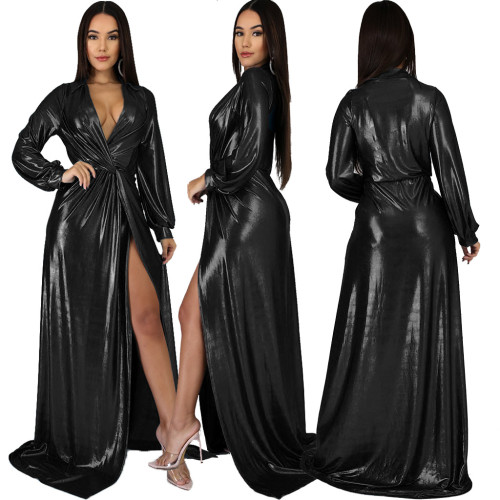 Black Sexy  Evening Dress gilded V-neck Long Sleeve Dress
