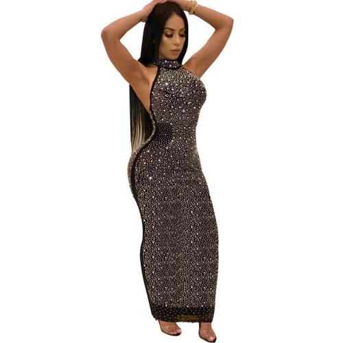 Black Sexy Rhinestone Halter Bodycon Maxi Dress