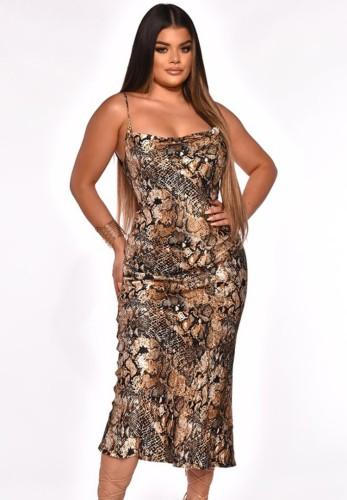 Casual Leopard Print Cami Long Dress