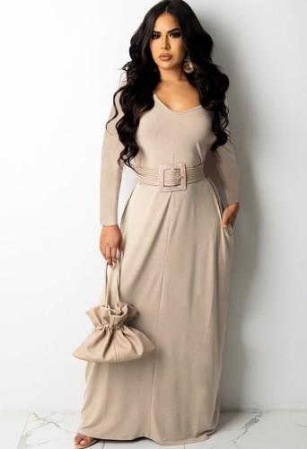 Khaki V-Neck Cozy Maxi Dress