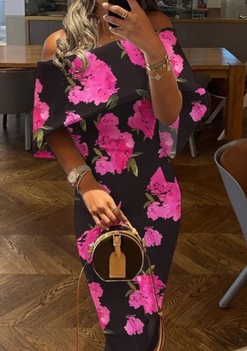 Flower Print Off Shoulder Cape Black Sheath Long Dress