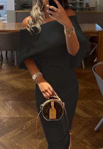 Trendy Black Off Shoulder Cape Sheath Long Dress