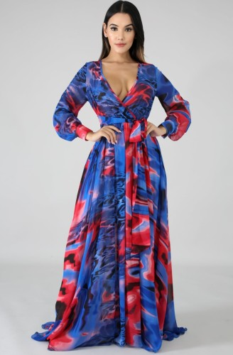 Colorful Wrap V-Neck Long Sleeve Loose Maxi Dress with Belt