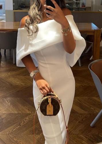 Trendy White Off Shoulder Cape Sheath Long Dress