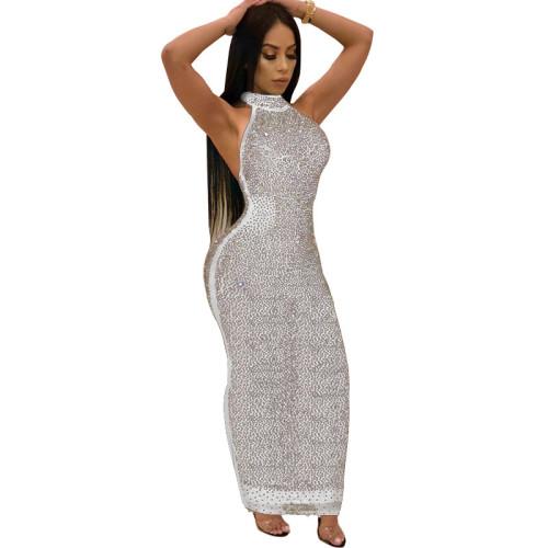 Sexy White Rhinestone Halter Bodycon Maxi Dress