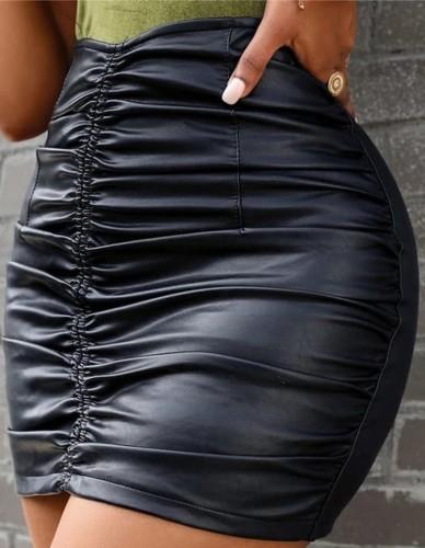 Black Leather Scrunch Slinky Mini Skirt