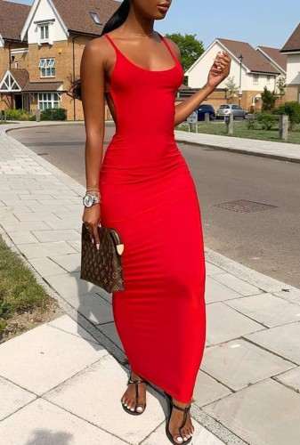 Red Backless Maxi Dress