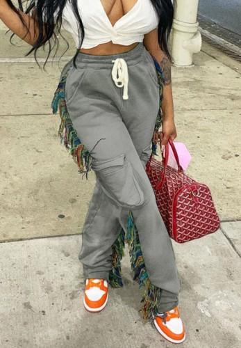 Grey Irregular DrawstringsHigh Waist Sweatpants