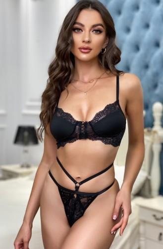 Black Lace Underwear Bra and Panty Lingerie Two Piece Set