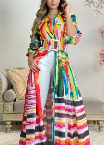 Multicolor Print Turndown Collar Long Sleeve Maxi Dress with Belt