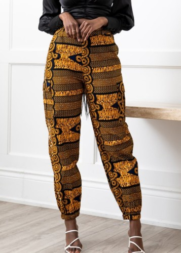 Retro Print Ankle Banded High Waist Pant