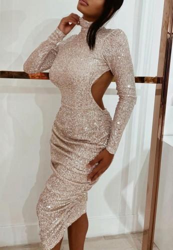 Gold Sequin Cut Out High Neck Long Dress