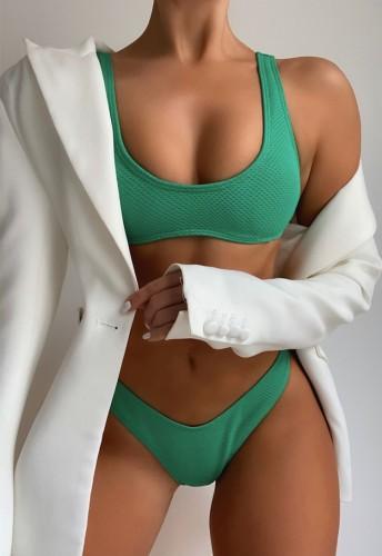 Green Wide Cami Tankini Two Piece Set