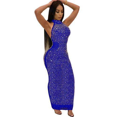 Blue Sexy Rhinestone Halter Bodycon Maxi Dress