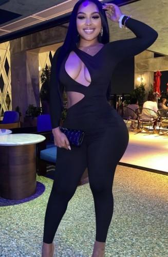 Black Cut Out Long Sleeve Slim Fit Jumpsuit