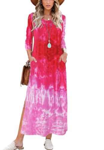 Tie Dye Pink O-Neck 3/4 Sleeve Split Long Dress