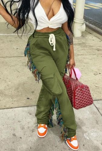 Green Irregular DrawstringsHigh Waist Sweatpants